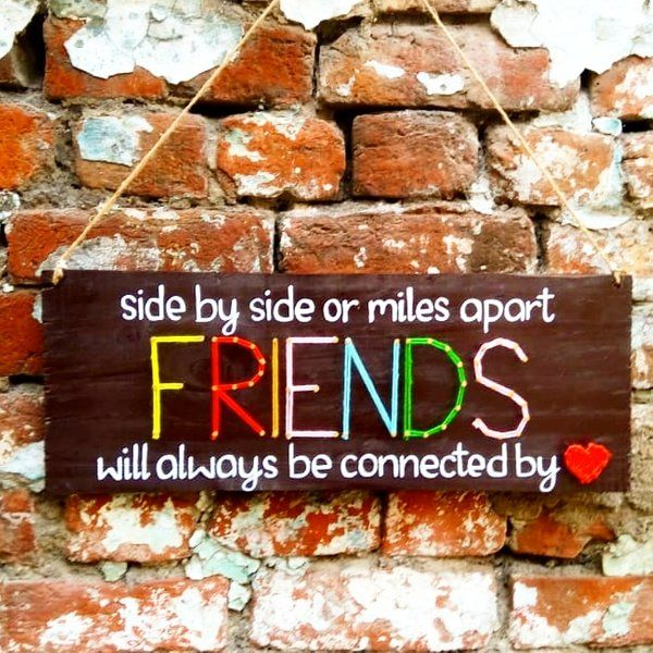 Best Birthday Gift for Long Distance Girlfriend Side By Side Friends Wall Hanging