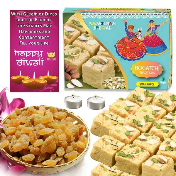 Bogatchi Soan Papdi With Raisins And 2 T Lights Diwali Greeting Diwali Gift For Sister