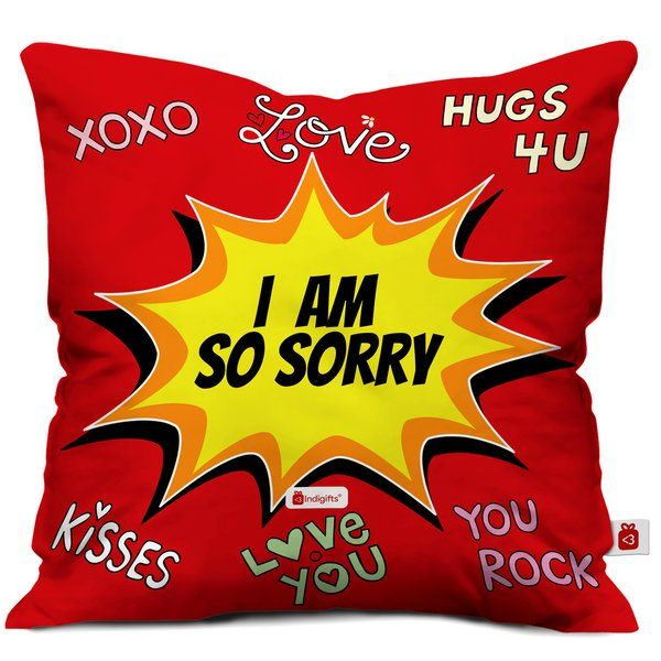 Indigifts Sorry Quote Printed Cushion with Cover Sorry Gifts