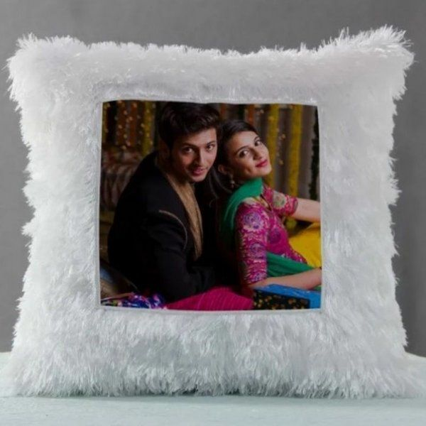 Waah Craft Square Led Fur Photo Cushion Personalized Valentines Gifts