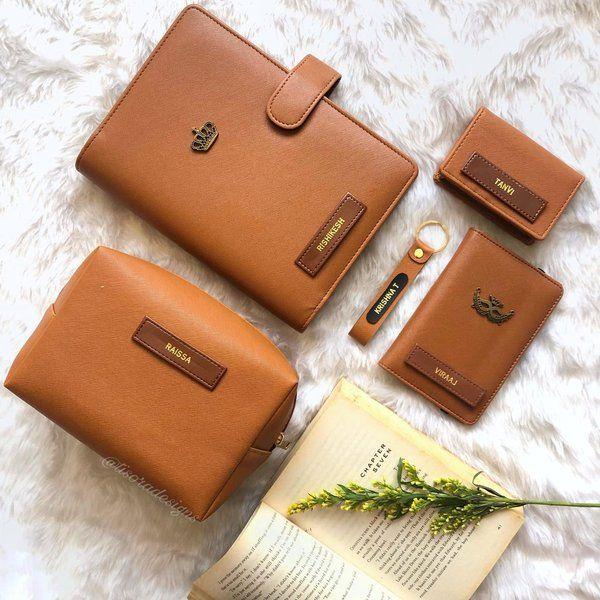 Tisora Designs Tan Brown Personalised Hamper Useful Gifts For Husband