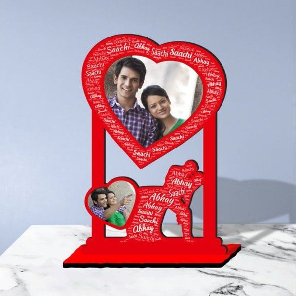Waah Craft Two Heart Images Personalized Photo Collage Table Stand Couple With Name Art 1st Anniversary Gift For Husband
