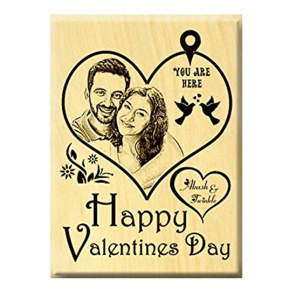 Incredible Gifts Valentine's Day Engraved Photo Plaque Steam Beech Happy Hug Day Gift
