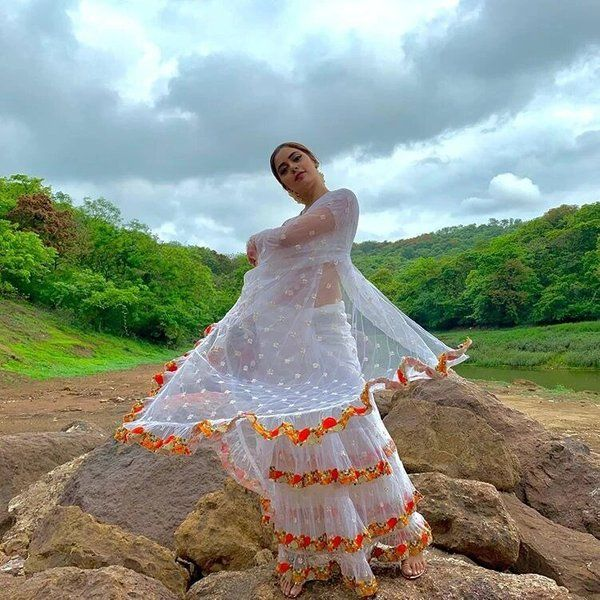 Hoods & Bonds White And Orange Ruffle Saree And Blouse Wedding Gifts For Women