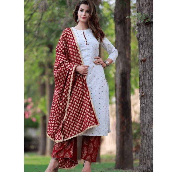 Hoods & Bonds White Rayon Kurti With Pant And Dupatta Rakhi Gifts For Sister