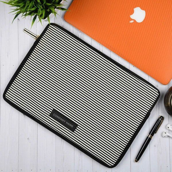 "13"" Black & White Vegan Leather Laptop Sleeve Unique Personalized Corporate Gifts"