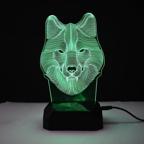 zestaindia 3D Wolf Face Illusion  colour Changing LED lamp for Decoration Showpiece and Gifting 25th Birthday Gift For Brother