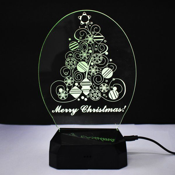 zestaindia 3W 3D Illusion Merry Christmas Tree Colour LED Lamp/light Gifts For Toddlers