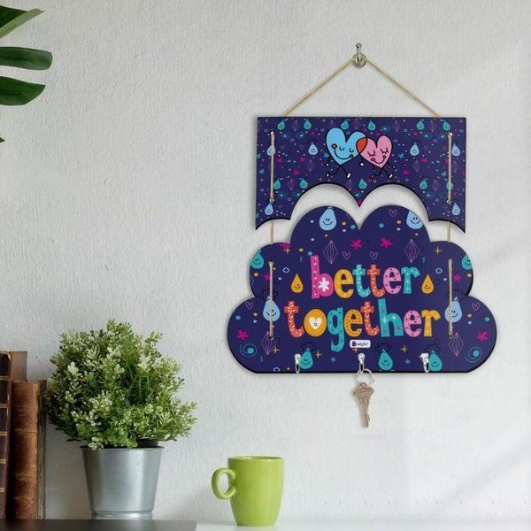 Indigifts Better Together Printed Blue Cloud Shape Wall Key Hanger Valentine Special Gifts For Him  Gifts Under 500