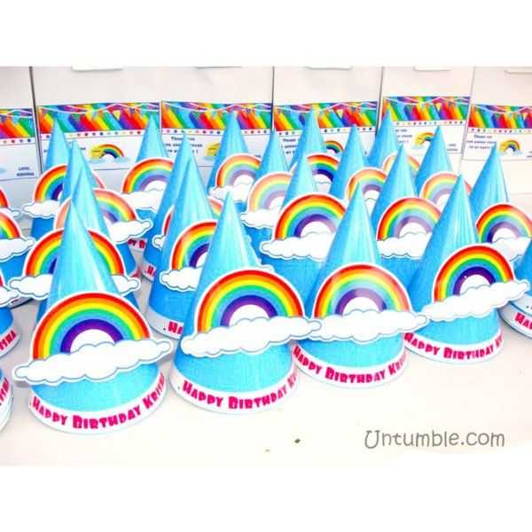 Untumble Birthday Hats With 3D Rainbow And Cloud Return Gift Ideas For Kids