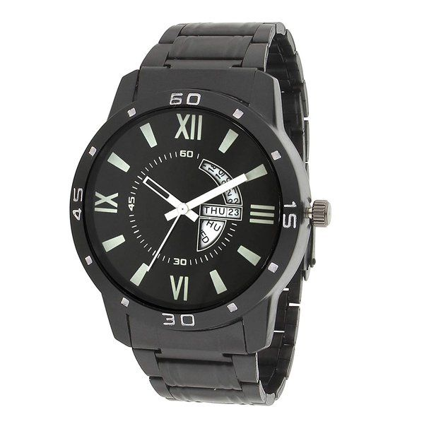 zestaindia Black Stainless Steel Watch with Day and Date Feature for Me Boys Gift Ideas