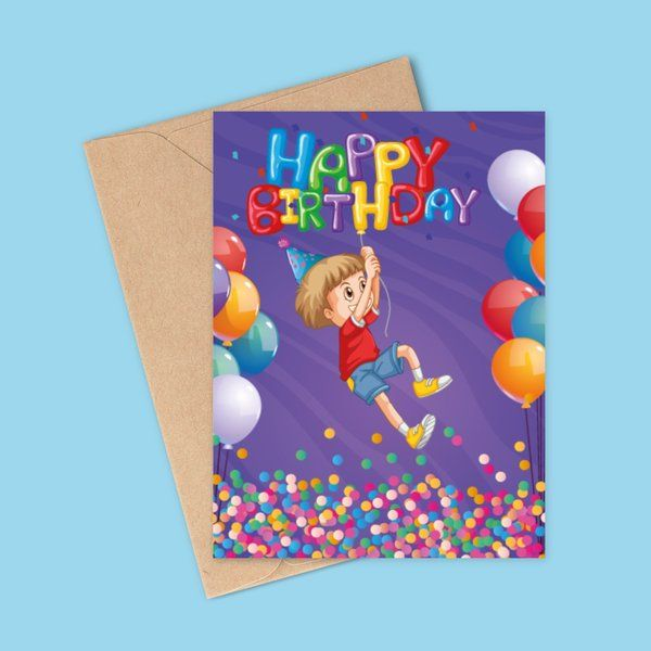 Privy Express Boys Balloon Theme Happy Birthday Greeting Card Gifts For Kids Under 10