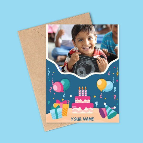 Privy Express Boy's Photo Personalized Happy Birthday Greeting Card Gifts For Kids Under 10