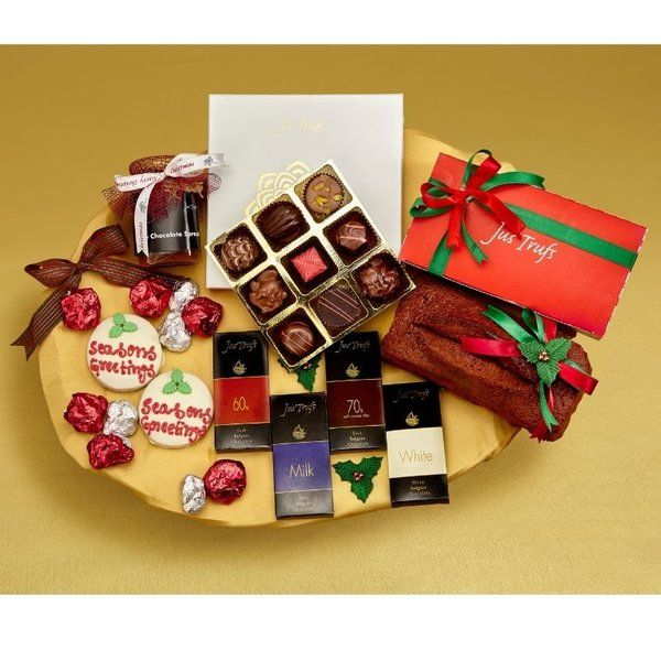 Jus'Trufs Chocolatiers Celebration Christmas Chocolate and Cake Hamper Expensive Gifts For Sister