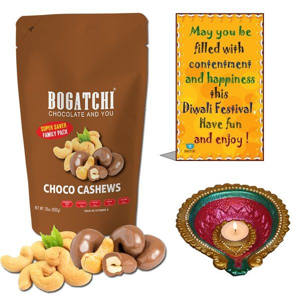 Bogatchi Chocolate Coated Cashews And Candle Diya Womens Day Gift Ideas For Colleagues