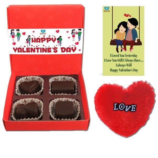 Bogatchi Chocolate Gift Box with V-Day Card & Fur Heart For Valentine  Gifts For Boyfriend Under 300