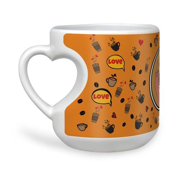 Indigifts Coffee Love Quote Hands With A Cup Of Coffee In Pop Art Coffee Pattern Orange Heart Shape Mug Valentines Day Mugs
