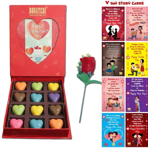 Bogatchi Colourful Hearts Chocolate in Photoframe Gift Box with All 8 Days Cards & Rose For Valentine  Rose Day Gifts For Boyfriend