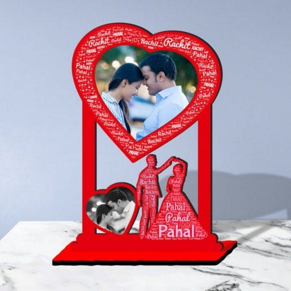 Waah Craft Couple Dance Personalized Photo Collage Table Stand Couple With Name Art Unique Valentines Day Gift