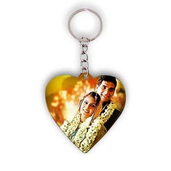 Privy Express Couple Heart-Shaped Photo Personalized Keychain 2nd Anniversary Gift For Wife