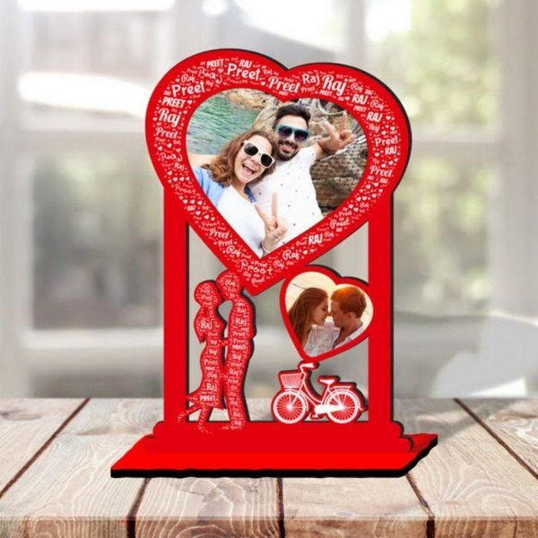 Waah Craft Couple Kiss Personalized Photo Collage Table Stand Couple With Name Art Kiss Day Gift For Boyfriend