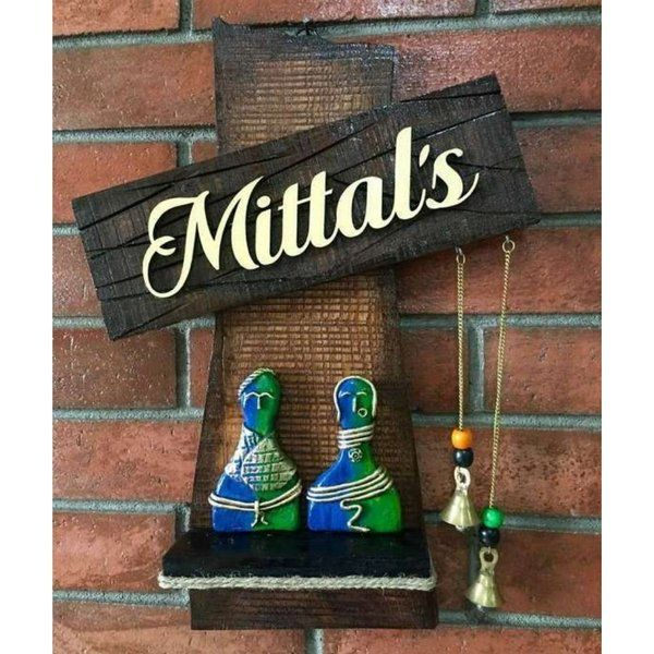 Hitchki Couple Statue Wooden Name Plate Unique Gifts For Wife