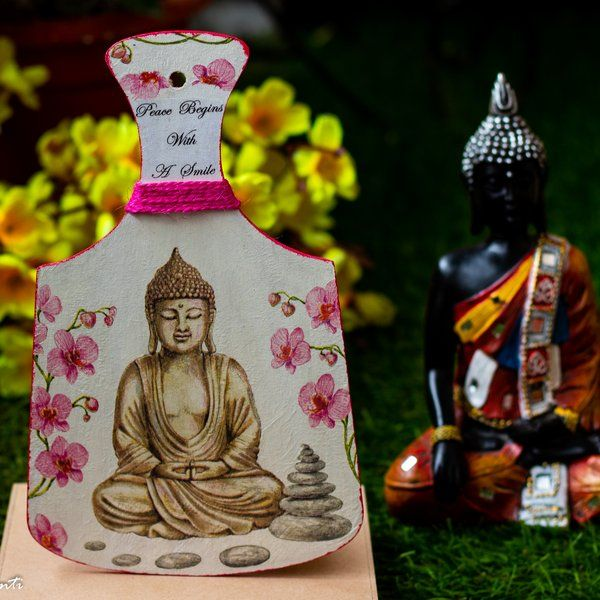 Hitchki Creative Corner Gautam Buddha Themed Wooden Chopping Board Unique Gifts For Wife