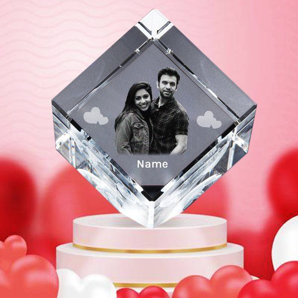 Personalized 3D Cube Cut Crystal Photo Gifts