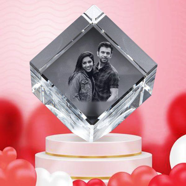 Privy Express Custom 3D Cube Crystal Photo Personalised for Valentine's Day 3 Year Anniversary Gift For Husband