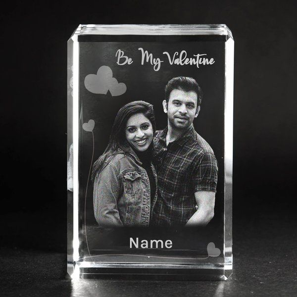 Privy Express Custom 3D Photo & Name Personalised Rectangular Valentine's Day Crystal  Unique Gifts For Wife