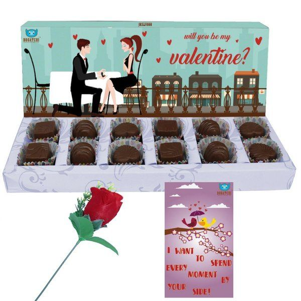 Bogatchi Dark Chocolate Box with Red Rose & V-Day Card For Valentine Rose Day Gifts For Boyfriend