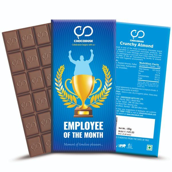 Chocodusk Employee Of The Month Blue Chocolate Bar Corporate Gifts For Womens Day