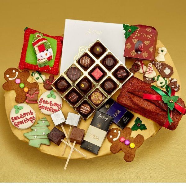 Jus'Trufs Chocolatiers Festive Family Christmas Indulgence Hamper Expensive Gifts For Boyfriend