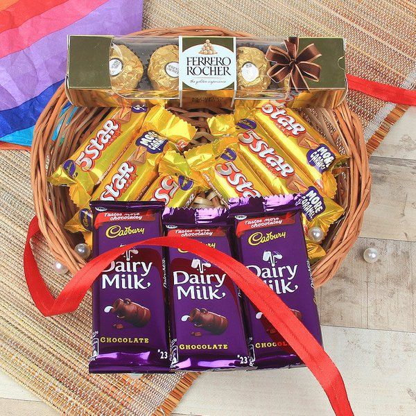 FlowerAura Five Star Rocher Dairy Milk Combo Holi Chocolates