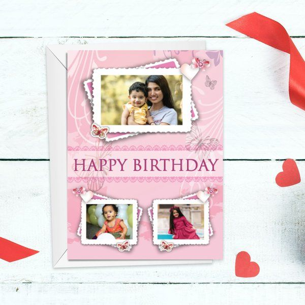 Privy Express Floral Photo Collage Customized Birthday Greeting Card Gifts For Kids Under 10