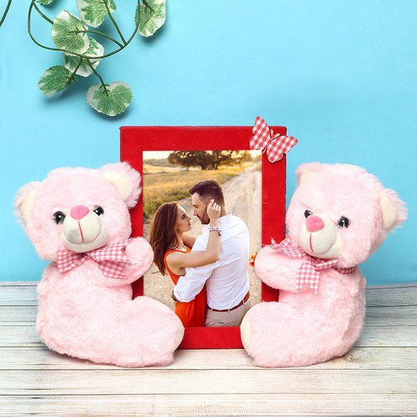 FlowerAura Frame With Teddies Personalized Valentines Gifts