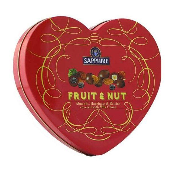 Sapphire Fruit And Nut Heart Tin Box (Covered With Milk Choco) 160g Holi Chocolates