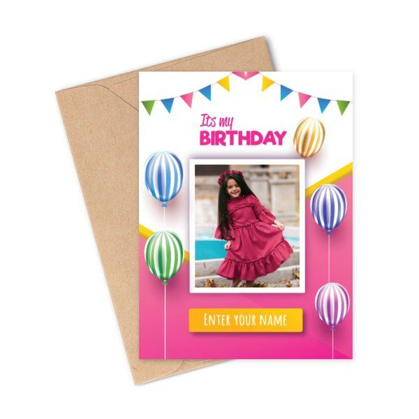 Privy Express Girl's Photo Personalized Happy Birthday Greeting Card Gifts For Kids Under 10