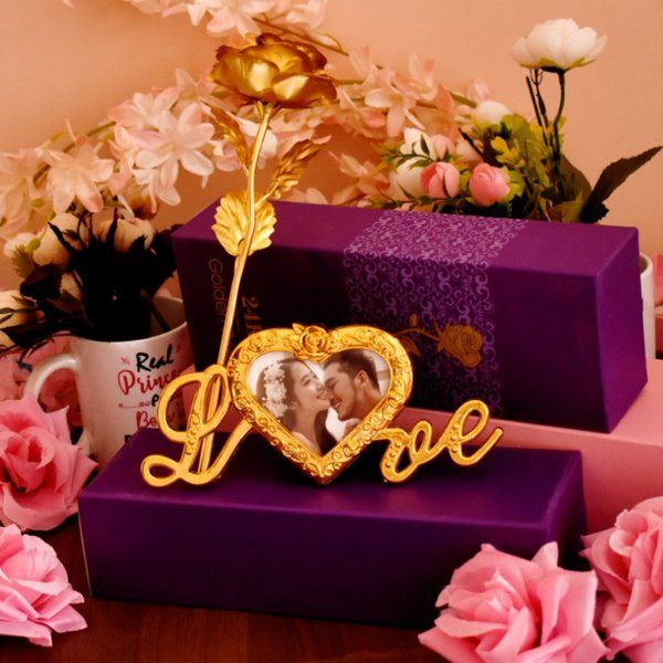 Waah Craft Gold Plated Artificial Gold Rose Husband Wife Gift