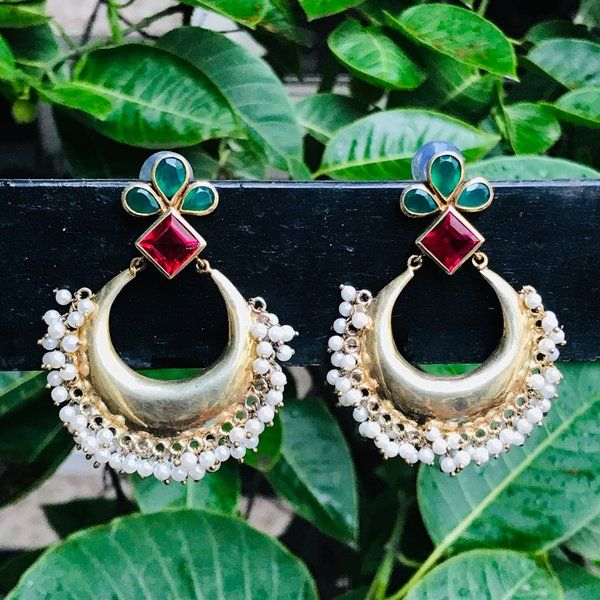 Divija Gold Plated Red & Green Stone Jhumki Handcrafted Traditional Pure Sterling Silver Earring Expensive Gifts For Sister