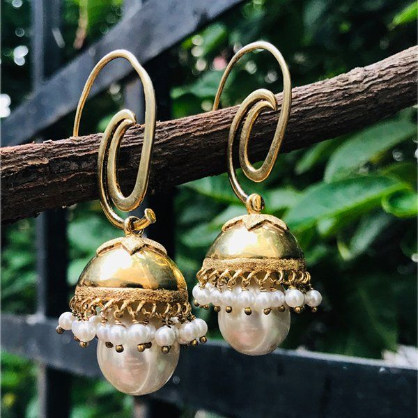 Divija Gold Plated & Silver Pearl Jhumki Handcrafted Traditional Pure Sterling Silver Earring Expensive Gifts For Girlfriend