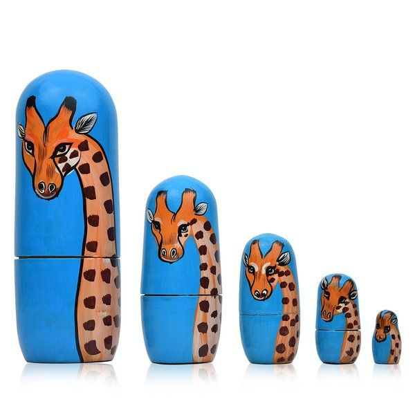 FineCraftIndia Hand Painted Cute Wooden Giraffe Russian Nesting Dolls Birthday Gifts For 8 Year Girl