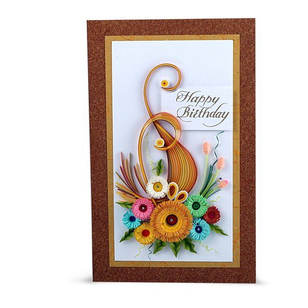 Swapnil Arts Handmade Happy Birthday Greeting Card- Quilling Flowers design Thoughtful Gifts For Boyfriend