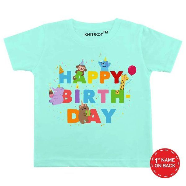 Knitroot Happy Birthday Party Design Baby Wear T-Shirt Birthday Gifts For 4 Year Girl