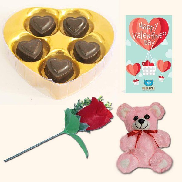 Bogatchi Heart Chocolate Box with V-Day Card, Rose & Teddy For Valentine'sDay Rose Day Gifts For Boyfriend