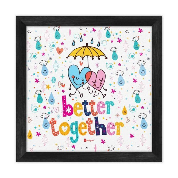 Indigifts Heart Emoticons White Poster Frame Inexpensive Gifts For Boyfriend