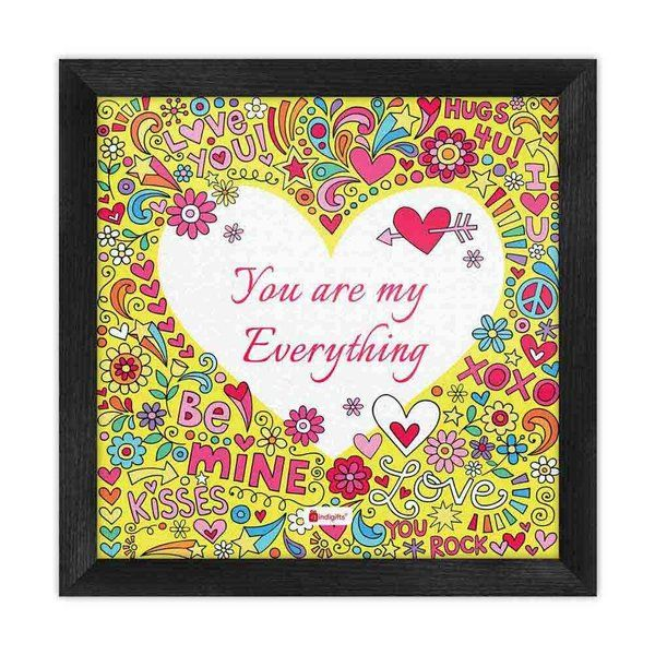 Indigifts Heart Engraved With Quirky Artwork Yellow Poster Frame Gifts For Boyfriend Under 500