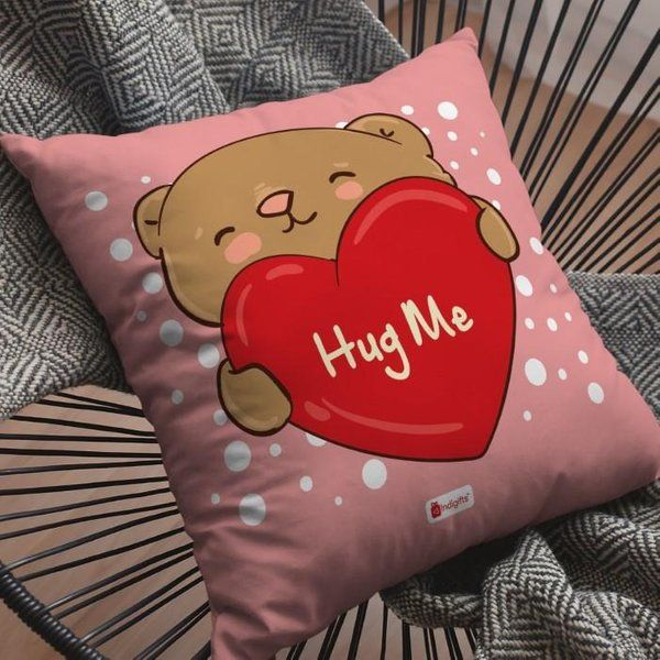 Indigifts Heart Holding Cute Teddy Pink Cushion Cover with Filler Hug Day Gift For Boyfriend