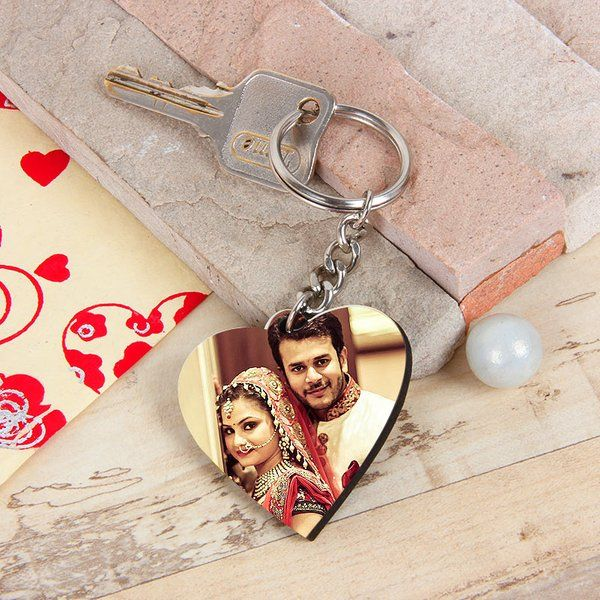 FlowerAura Heart Photo Keyring Personalized Gifts For Friends