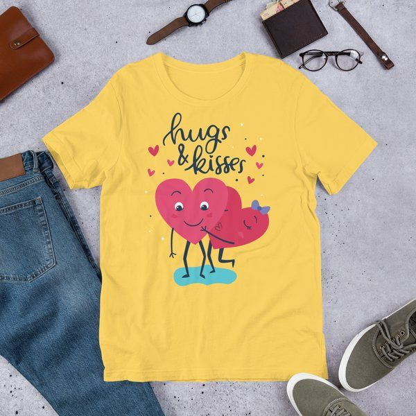 Privy Express Hearts Cuddling with Hugs & Kisses Cute Valentine's Day Printed Men's Cotton T-Shirt Boys Gift Ideas